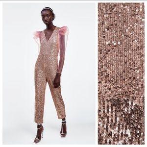 Zara Sequinned Organza Jumpsuit. Size XL.